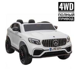 Электромобиль Mercedes-Benz AMG GLC63 2.0 Coupe 4WD белый (двухместный, колеса резина, кресло кожа, пульт, музыка)